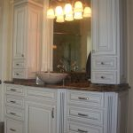 Master vanity with his and hers linens & toiletries